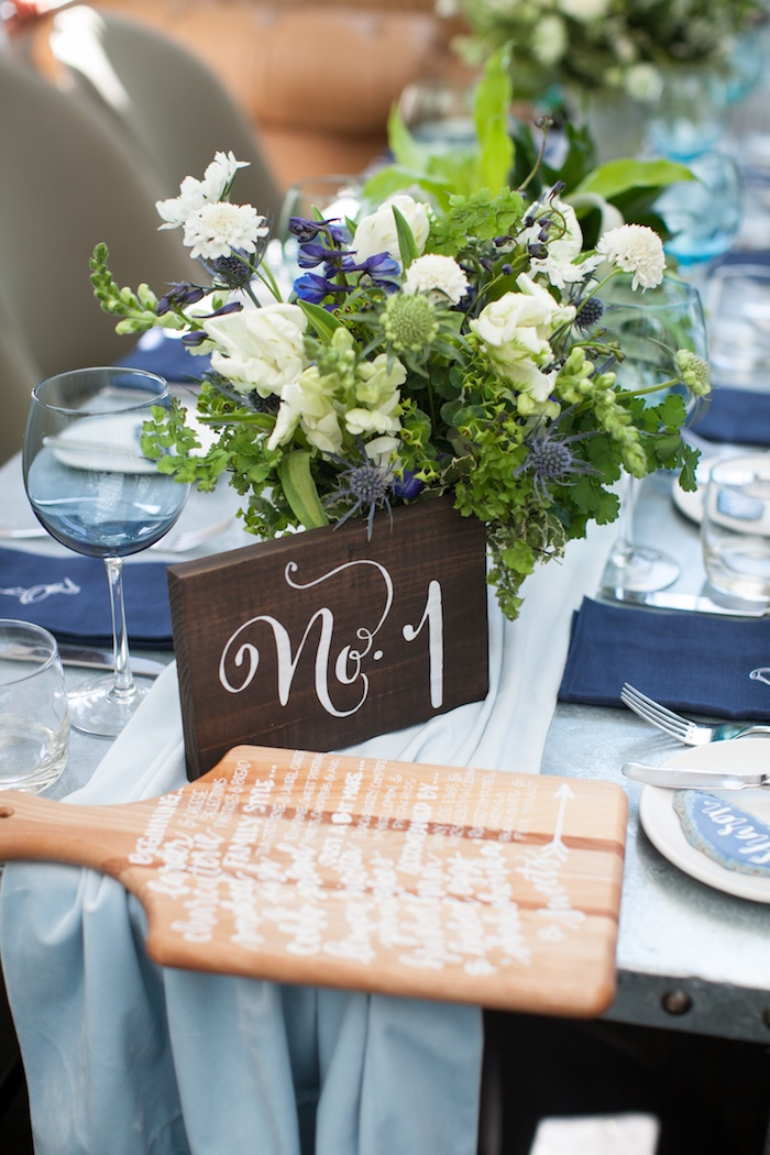 Table number from a Modern Boy Baby Shower on Kara's Party Ideas | KarasPartyIdeas.com (11)