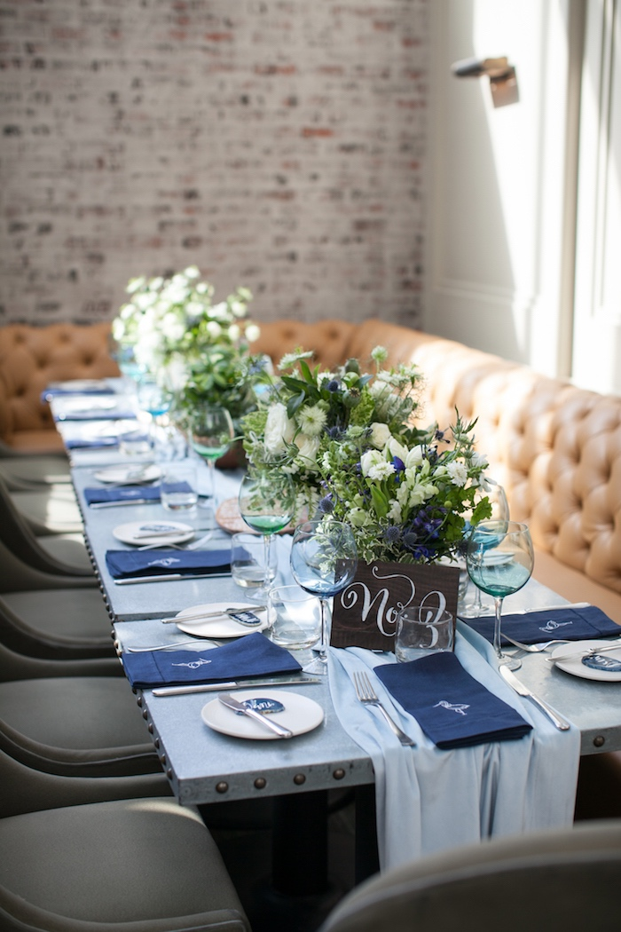 Guest table from a Modern Boy Baby Shower on Kara's Party Ideas | KarasPartyIdeas.com (7)