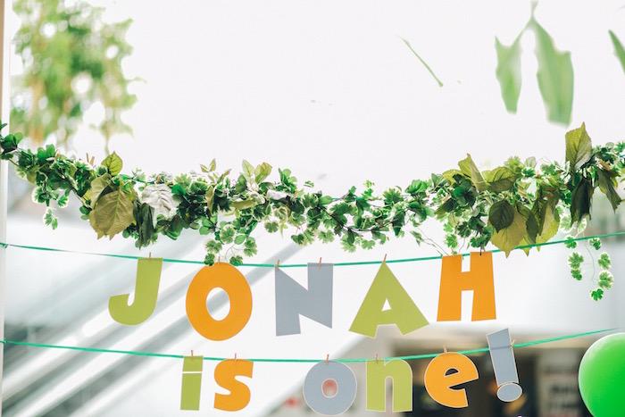 Banners + leaf bunting from a Modern Dinosaur Birthday Party on Kara'a Party Ideas | KarasPartyIdeas.com (16)