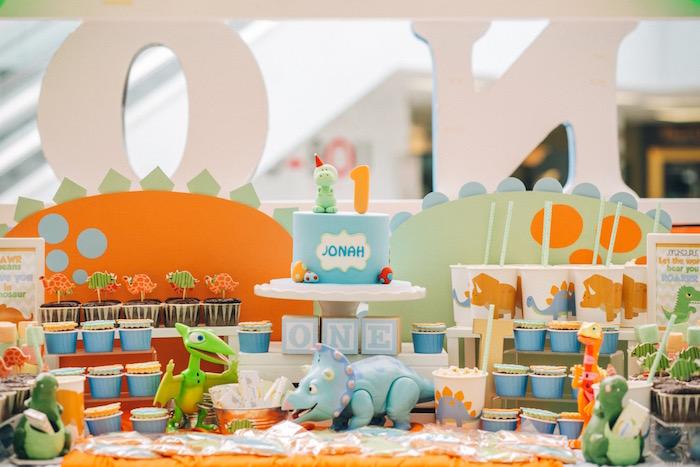 Cake table from a Modern Dinosaur Birthday Party on Kara'a Party Ideas | KarasPartyIdeas.com (15)