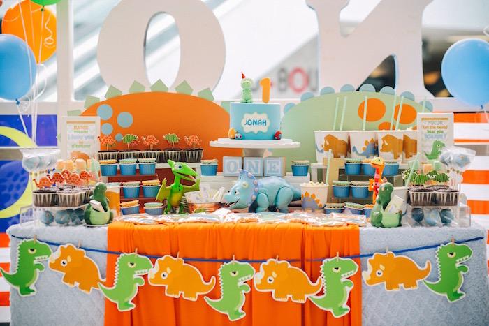 Dessert table from a Modern Dinosaur Birthday Party on Kara'a Party Ideas | KarasPartyIdeas.com (14)