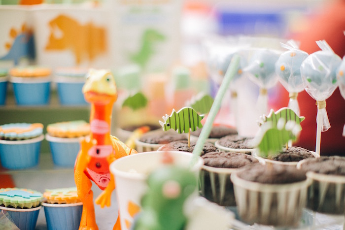 Cupcakes and cotton candy pops from a Modern Dinosaur Birthday Party on Kara'a Party Ideas | KarasPartyIdeas.com (8)