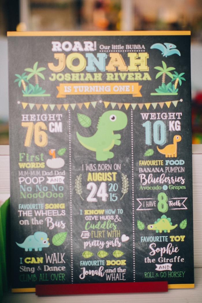 Milestone board from a Modern Dinosaur Birthday Party on Kara'a Party Ideas | KarasPartyIdeas.com (5)