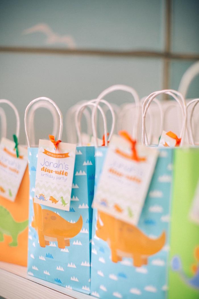 Dino gift bags from a Modern Dinosaur Birthday Party on Kara'a Party Ideas | KarasPartyIdeas.com (4)