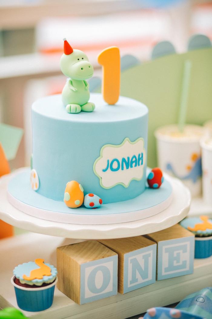 Dinosaur cake from a Modern Dinosaur Birthday Party on Kara'a Party Ideas | KarasPartyIdeas.com (23)