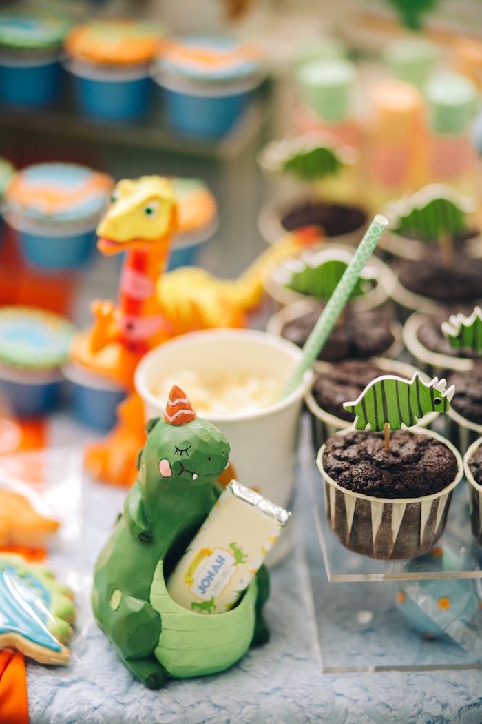 Dinosaur container from a Modern Dinosaur Birthday Party on Kara'a Party Ideas | KarasPartyIdeas.com (20)