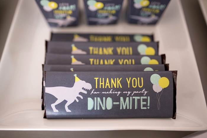 Dino-mite candy bars from a Modern Dinosaur Birthday Party on Kara's Party Ideas | KarasPartyIdeas.com (25)