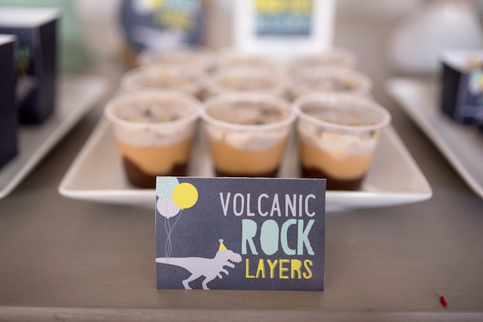 Volcanic Rock Layers pudding cups from a Modern Dinosaur Birthday Party on Kara's Party Ideas | KarasPartyIdeas.com (21)