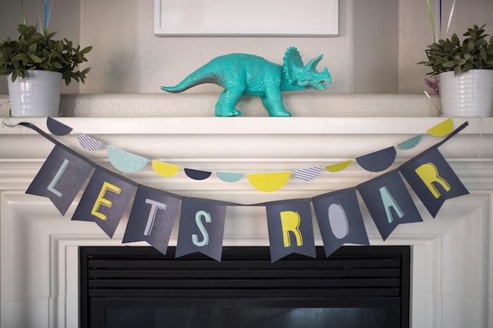 Let's Roar banner from a Modern Dinosaur Birthday Party on Kara's Party Ideas | KarasPartyIdeas.com (19)