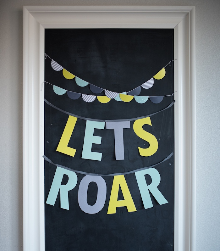 'Let's Roar' chalkboard banner sign from a Modern Dinosaur Birthday Party on Kara's Party Ideas | KarasPartyIdeas.com (18)