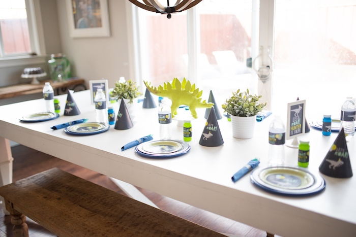 Guest tablescape from a Modern Dinosaur Birthday Party on Kara's Party Ideas | KarasPartyIdeas.com (15)