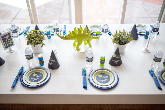 Guest tabletop from a Modern Dinosaur Birthday Party on Kara's Party Ideas | KarasPartyIdeas.com (14)