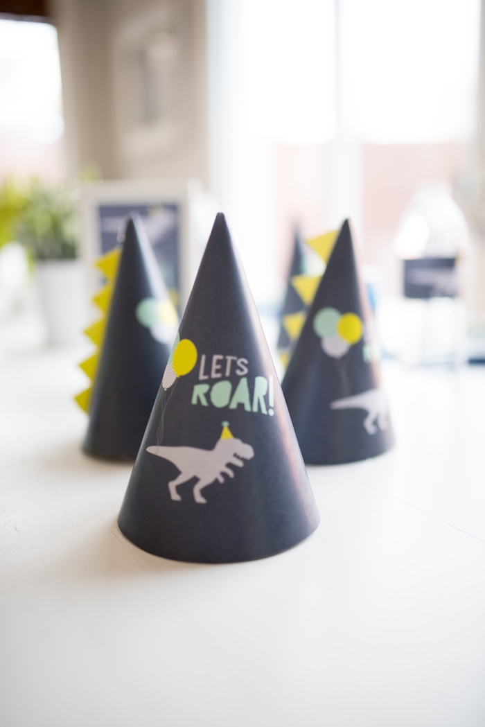 Dino party hats from a Modern Dinosaur Birthday Party on Kara's Party Ideas | KarasPartyIdeas.com (13)