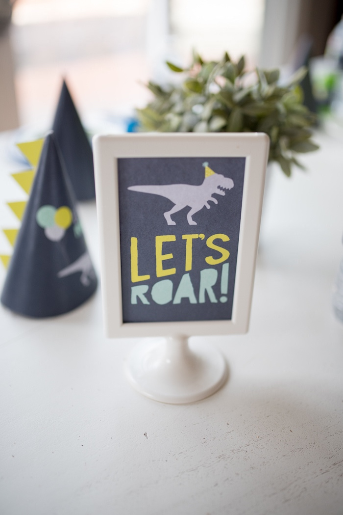 Let's Roar chalkboard party print from a Modern Dinosaur Birthday Party on Kara's Party Ideas | KarasPartyIdeas.com (12)