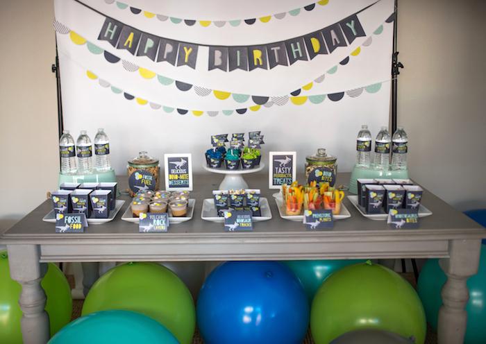 Sweet table from a Modern Dinosaur Birthday Party on Kara's Party Ideas | KarasPartyIdeas.com (34)
