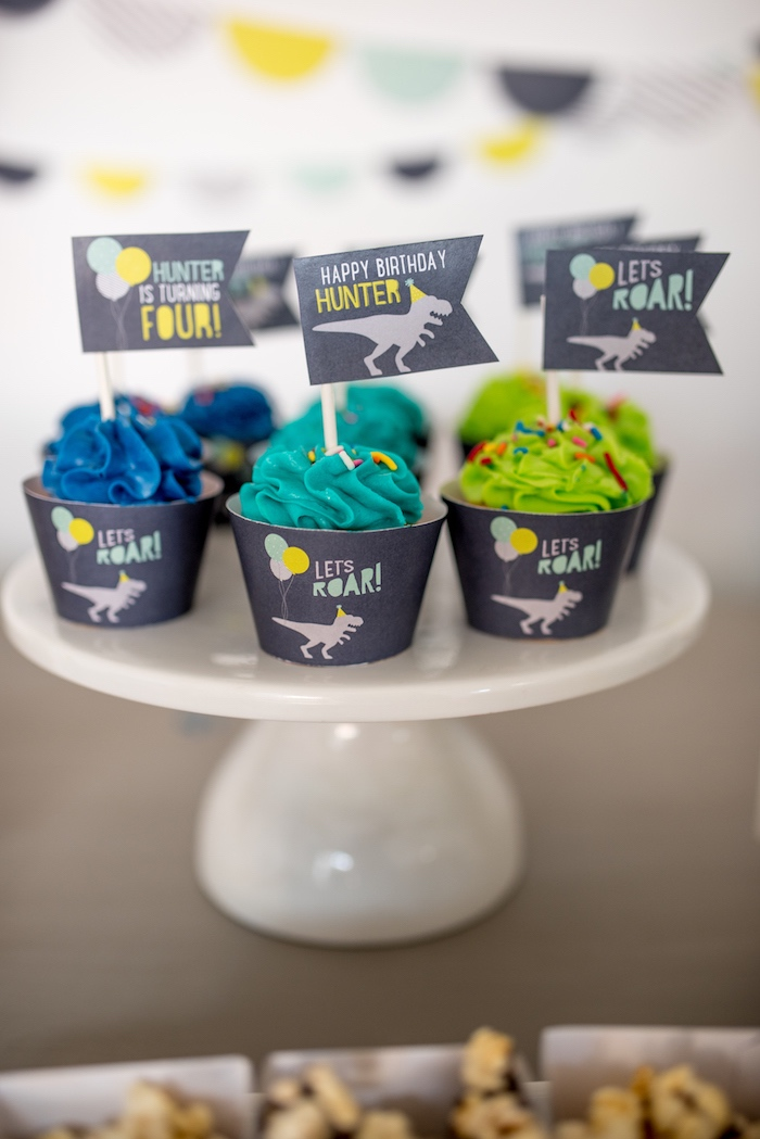 Dino themed cupcakes from a Modern Dinosaur Birthday Party on Kara's Party Ideas | KarasPartyIdeas.com (33)