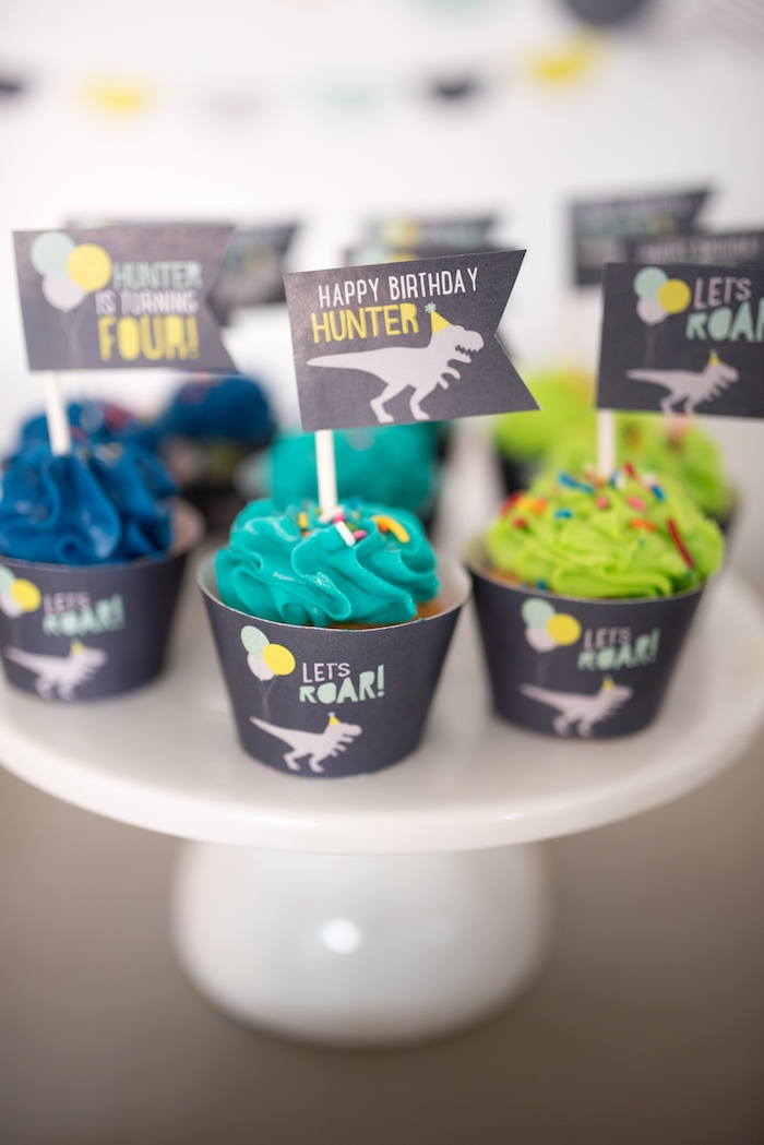 Cupcakes from a Modern Dinosaur Birthday Party on Kara's Party Ideas | KarasPartyIdeas.com (32)