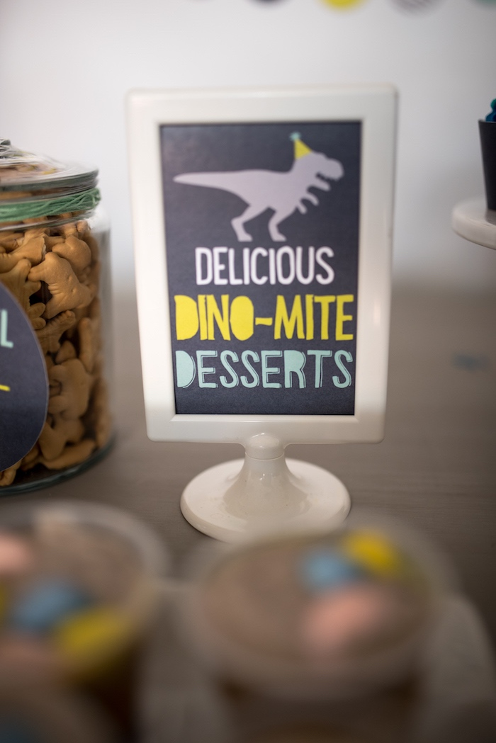 Dino Dessert party signage from a Modern Dinosaur Birthday Party on Kara's Party Ideas | KarasPartyIdeas.com (31)