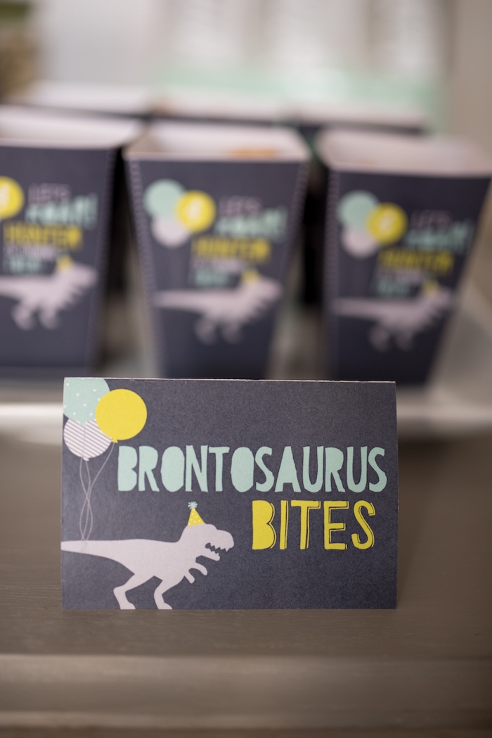 Brontosaurus Bites sweet label from a Modern Dinosaur Birthday Party on Kara's Party Ideas | KarasPartyIdeas.com (27)