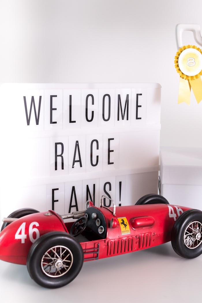 Lightbox sign and race car from a Modern Race Car Birthday Party on Kara's Party Ideas | KarasPartyIdeas.com (30)
