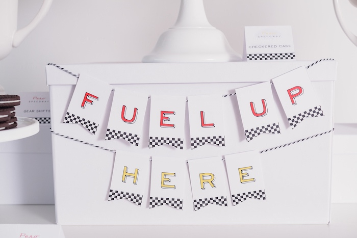 'Fuel Up Here' banner from a Modern Race Car Birthday Party on Kara's Party Ideas | KarasPartyIdeas.com (29)