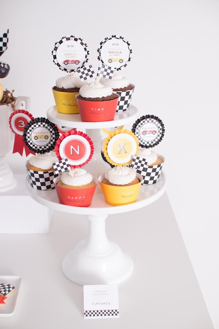 Cupcakes from a Modern Race Car Birthday Party on Kara's Party Ideas | KarasPartyIdeas.com (28)