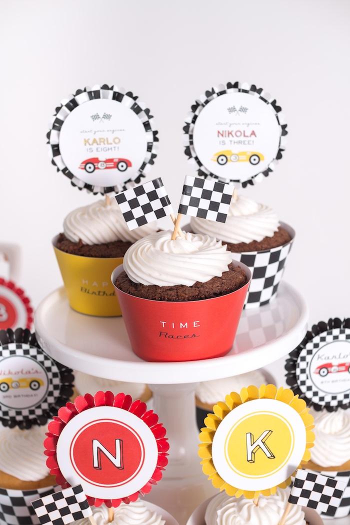 Cupcakes from a Modern Race Car Birthday Party on Kara's Party Ideas | KarasPartyIdeas.com (27)