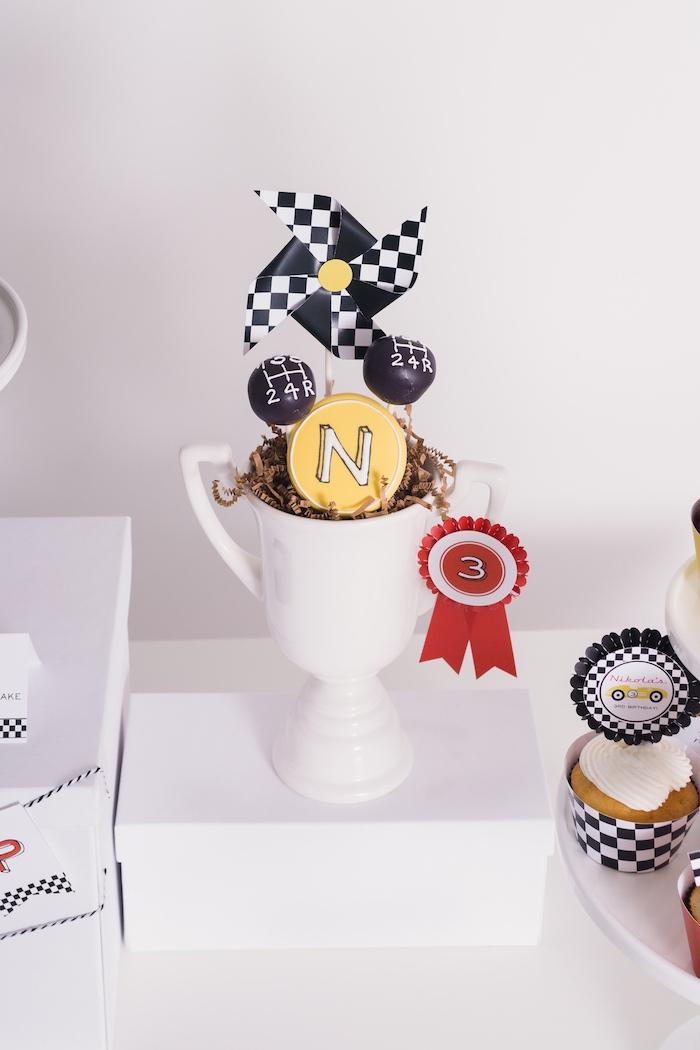 Piston cup dessert pedestal from a Modern Race Car Birthday Party on Kara's Party Ideas | KarasPartyIdeas.com (26)
