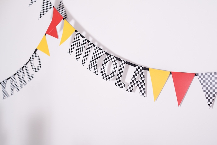 Checkered letter & pennant banner from a Modern Race Car Birthday Party on Kara's Party Ideas | KarasPartyIdeas.com (25)
