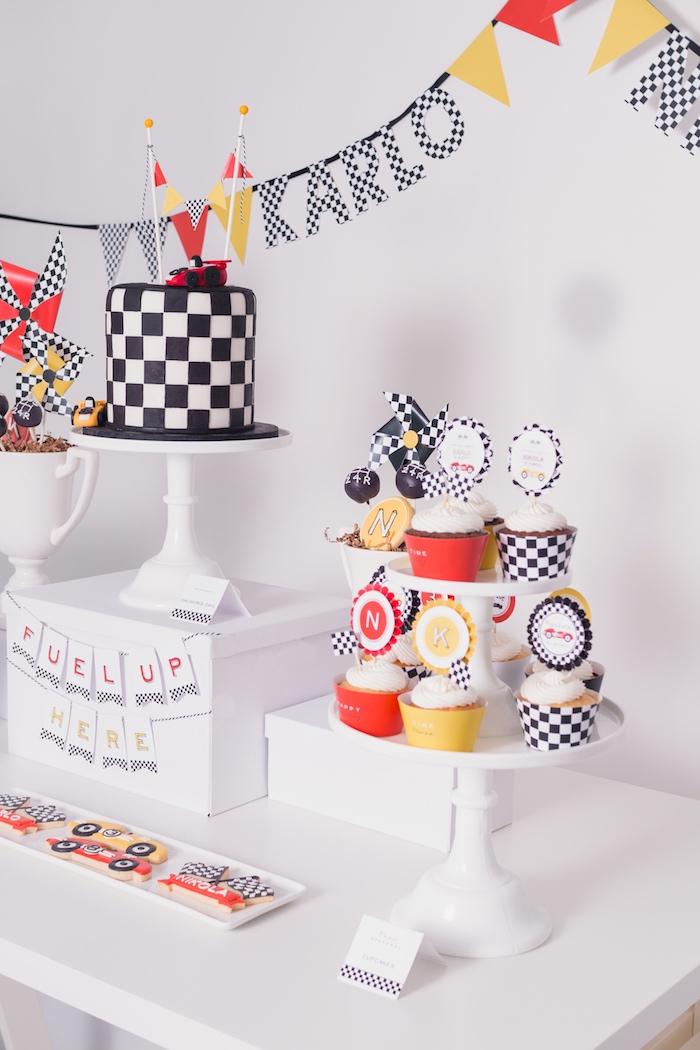 Cakescape from a Modern Race Car Birthday Party on Kara's Party Ideas | KarasPartyIdeas.com (24)