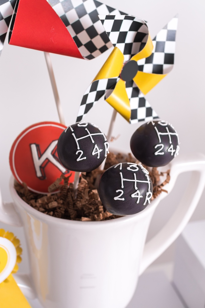 Gear Shift cake pops from a Modern Race Car Birthday Party on Kara's Party Ideas | KarasPartyIdeas.com (23)