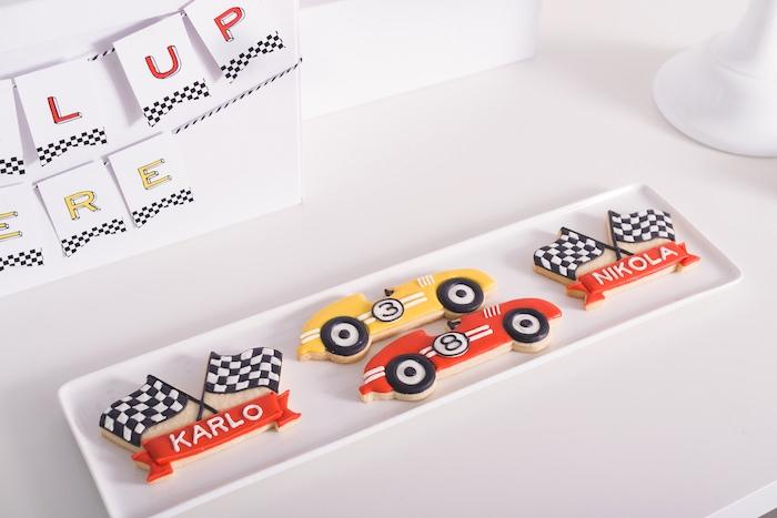 Checkered flag and race car cookies from a Modern Race Car Birthday Party on Kara's Party Ideas | KarasPartyIdeas.com (22)
