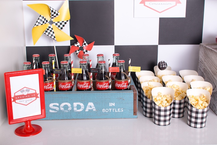Soda bottles and checkered popcorn boxes from a Modern Race Car Birthday Party on Kara's Party Ideas | KarasPartyIdeas.com (21)