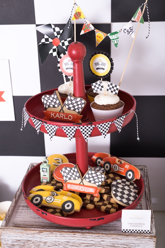 Cookies and cupcakes from a Modern Race Car Birthday Party on Kara's Party Ideas | KarasPartyIdeas.com (19)