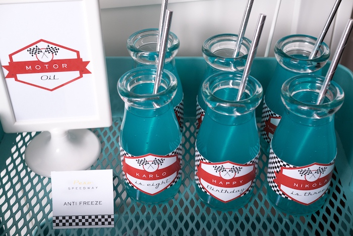 Antifreeze drink bottles from a Modern Race Car Birthday Party on Kara's Party Ideas | KarasPartyIdeas.com (16)