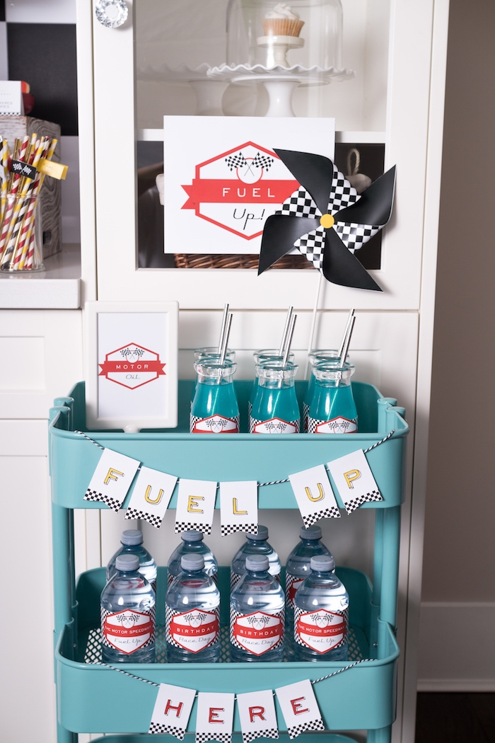 Fuel Up beverage cart from a Modern Race Car Birthday Party on Kara's Party Ideas | KarasPartyIdeas.com (15)