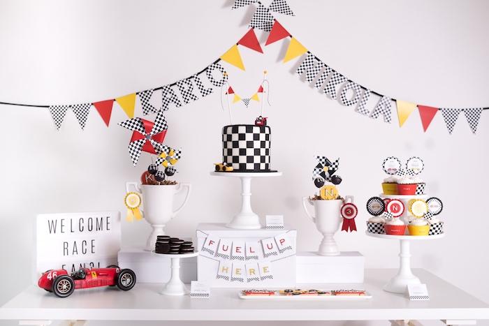 Dessert table from a Modern Race Car Birthday Party on Kara's Party Ideas | KarasPartyIdeas.com (14)