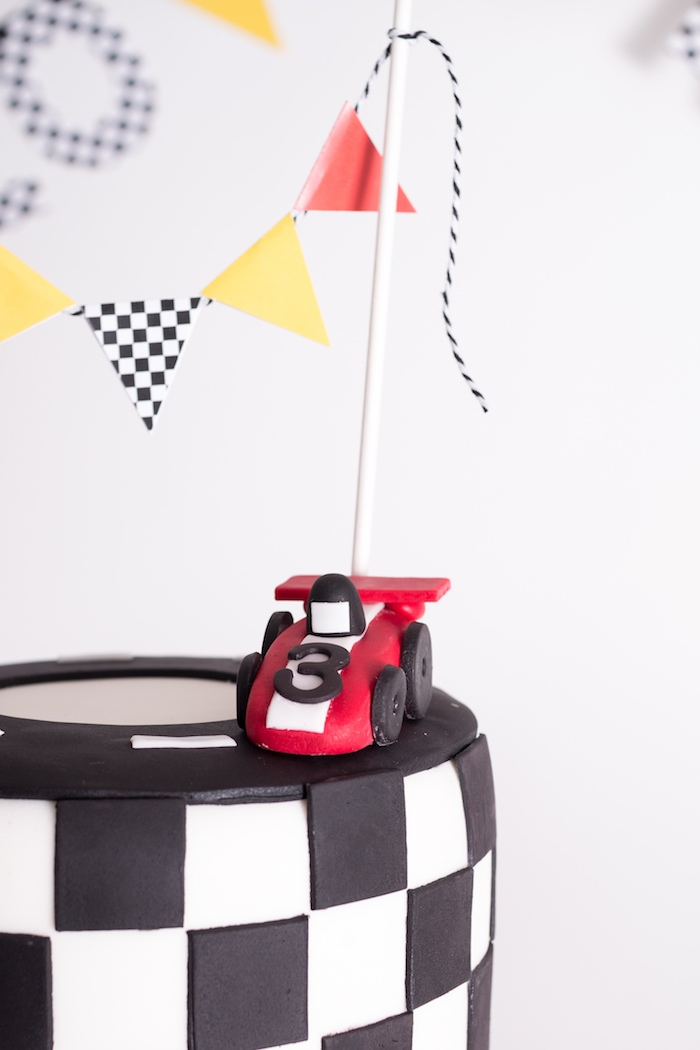 Cake banner and race car topper from a Modern Race Car Birthday Party on Kara's Party Ideas | KarasPartyIdeas.com (12)