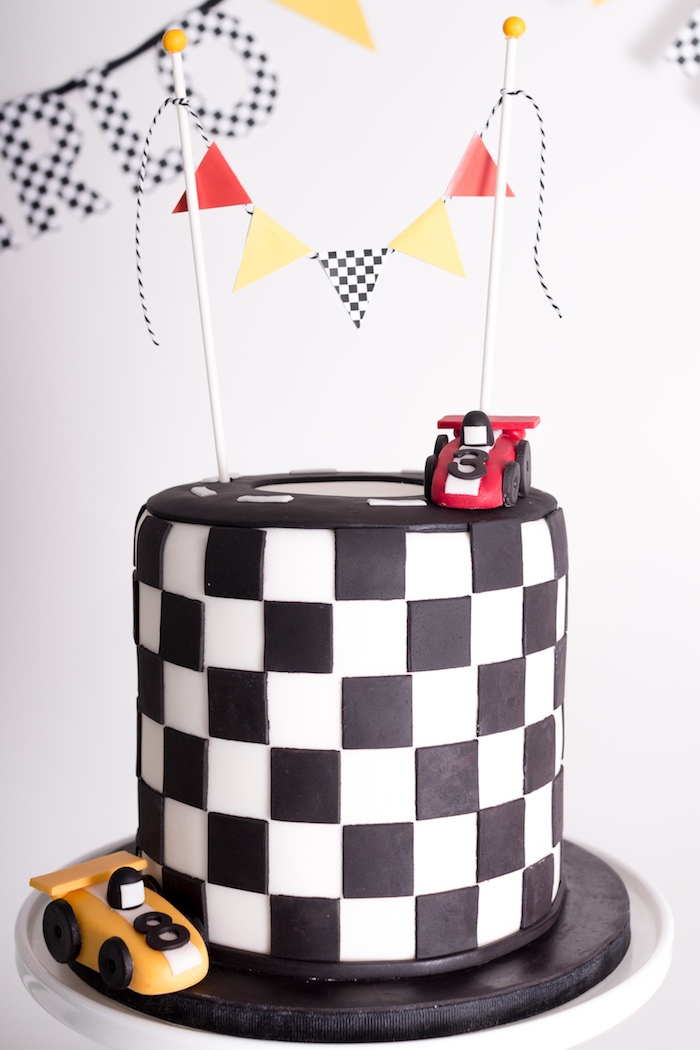 Racing Checkerboard Cake from a Modern Race Car Birthday Party on Kara's Party Ideas | KarasPartyIdeas.com (11)