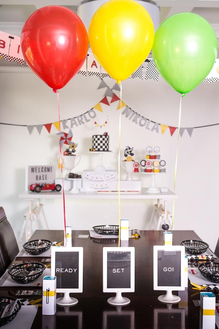 'Ready, Set, Go' guest table from a Modern Race Car Birthday Party on Kara's Party Ideas | KarasPartyIdeas.com (10)