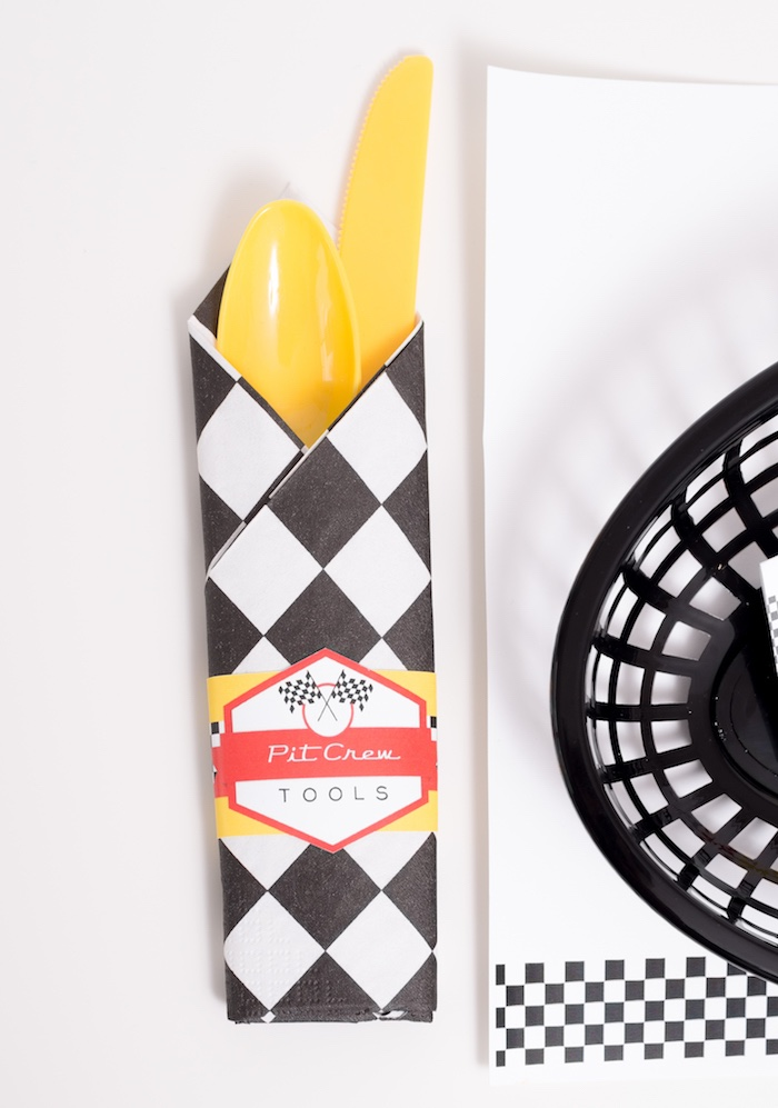 Racer check utensil pack from a Modern Race Car Birthday Party on Kara's Party Ideas | KarasPartyIdeas.com (6)