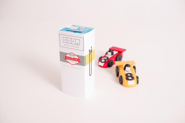 Gas pump juice box from a Modern Race Car Birthday Party on Kara's Party Ideas | KarasPartyIdeas.com (5)