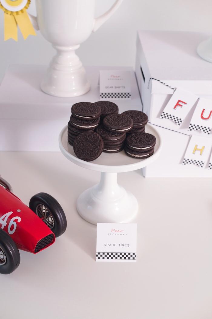 Spare Tire Oreos from a Modern Race Car Birthday Party on Kara's Party Ideas | KarasPartyIdeas.com (37)