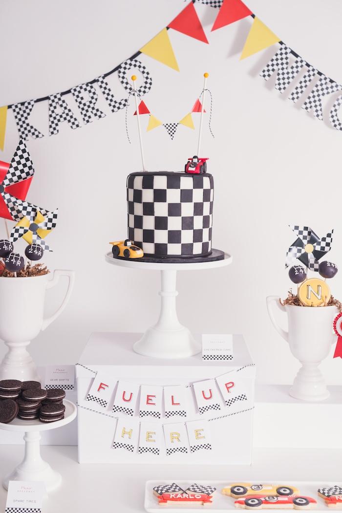 Racer cake from a Modern Race Car Birthday Party on Kara's Party Ideas | KarasPartyIdeas.com (34)