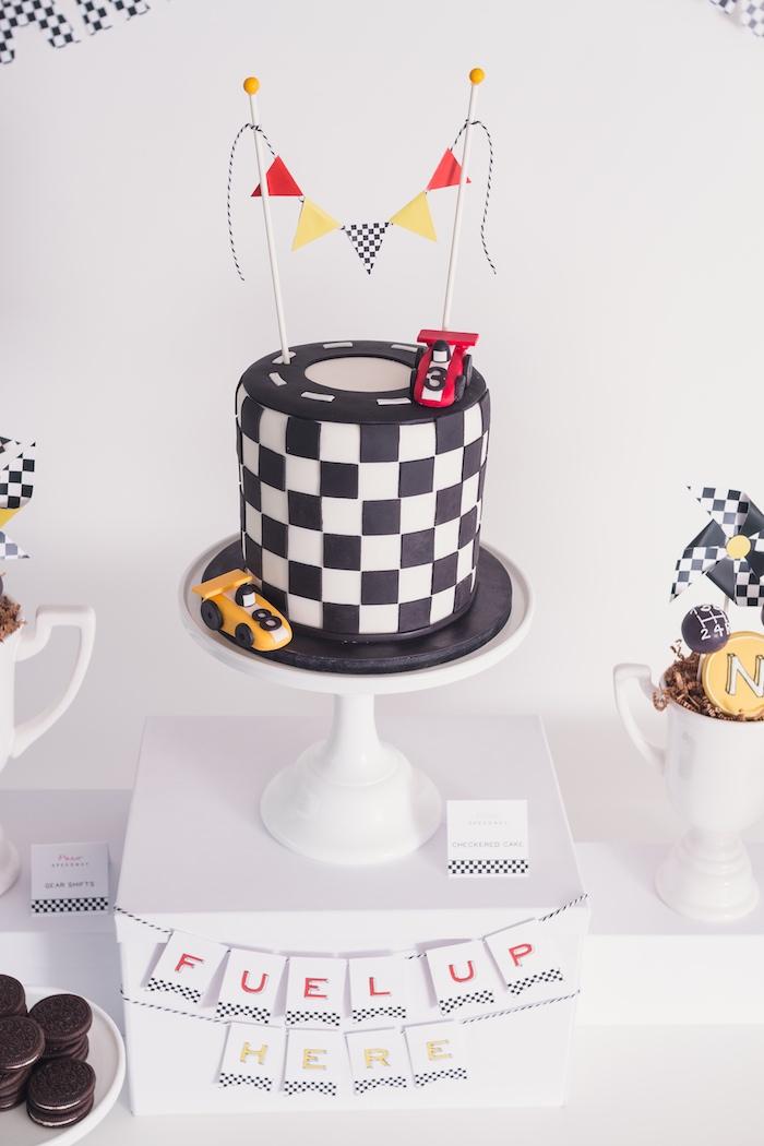 Cake from a Modern Race Car Birthday Party on Kara's Party Ideas | KarasPartyIdeas.com (32)