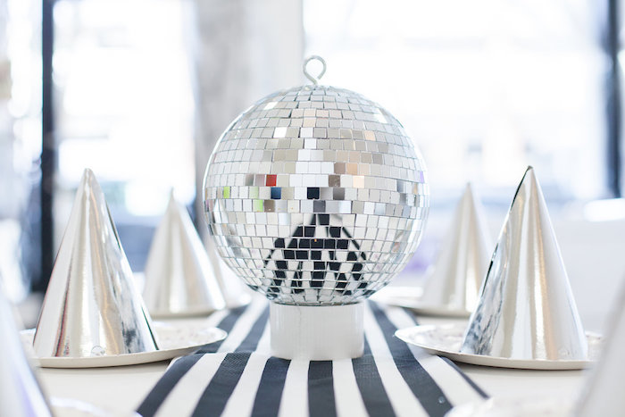 Disco balled guest tablescape from a Monochromatic Just Dance Birthday Party on Kara's Party Ideas | KarasPartyIdeas.com (18)
