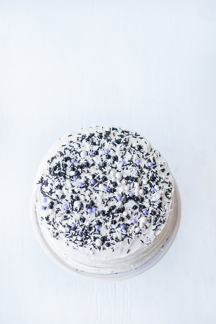 Confetti cake from a Monochromatic Just Dance Birthday Party on Kara's Party Ideas | KarasPartyIdeas.com (10)