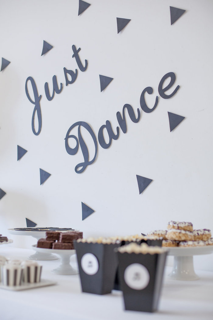 Just Dance backdrop from a Monochromatic Just Dance Birthday Party on Kara's Party Ideas | KarasPartyIdeas.com (25)