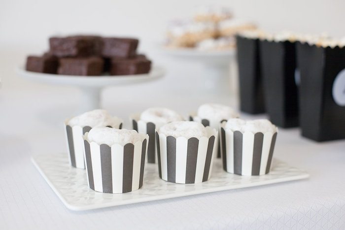 Striped dessert cups filled with powdered doughnuts from a Monochromatic Just Dance Birthday Party on Kara's Party Ideas | KarasPartyIdeas.com (24)