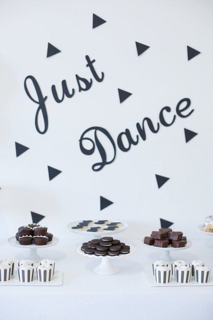Desserts + sweets from a Monochromatic Just Dance Birthday Party on Kara's Party Ideas | KarasPartyIdeas.com (22)